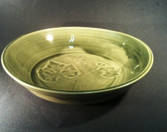 Celedon serving bowl with grape leaves