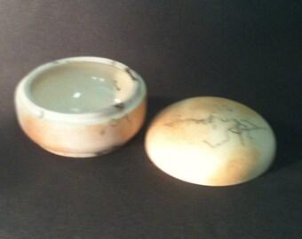 Pottery Stash pot, Pottery Knick Knack box, Horsehair Raku Pottery round box