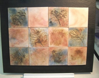 Tile Mural, Native American Tile painting, Pit fired tile mural, Tile painting
