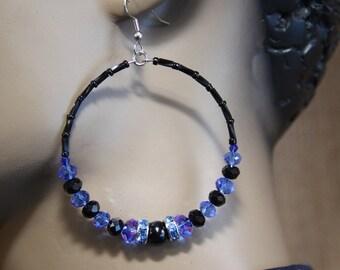 dangle hoops, blue, black,onyx,Czech glass, earrings
