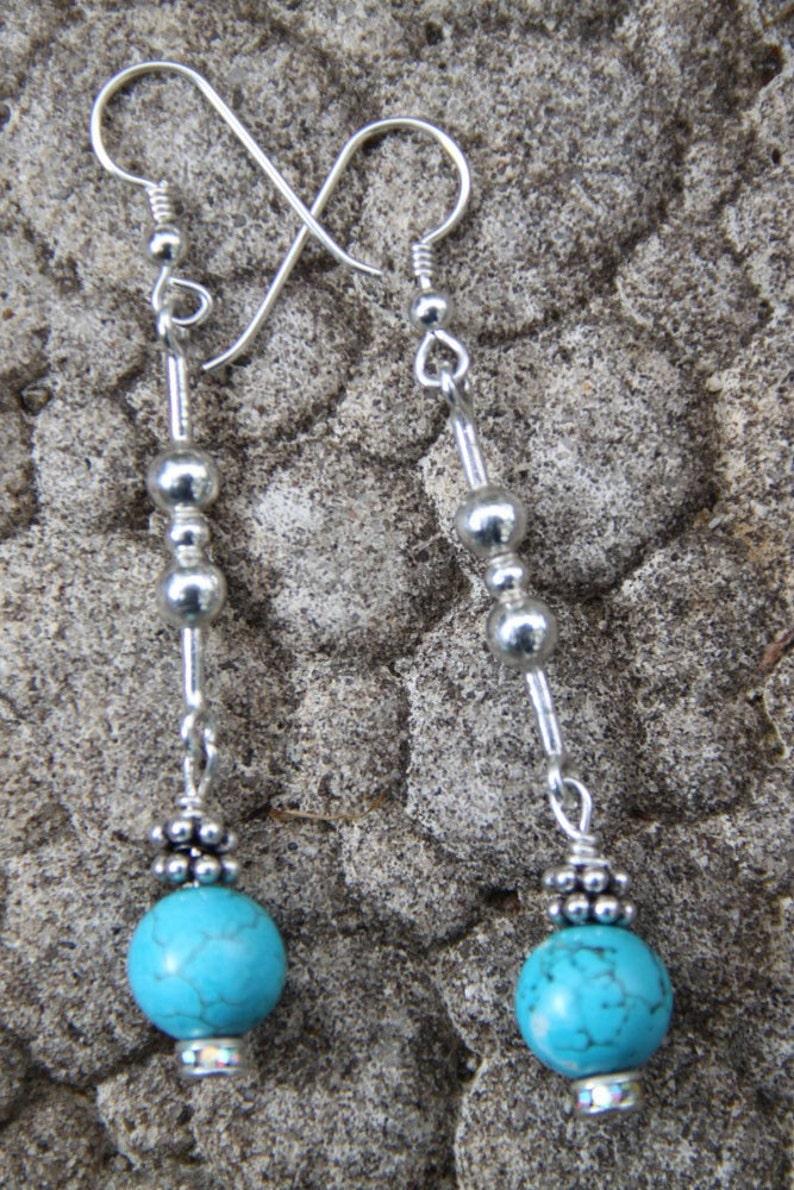 Turquoise Stone Earrings Dangle  sterling silver  BARBELLS