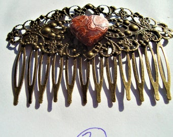 Antique Gold Hair Combs with Jasper Gemstone hearts, Long Hair Accessories, Bridal Accessories