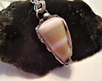 SALE:  Natural Seashell with Electroplated Edges in Silver, Handmade, 30 Inch Silver Filled Chain, Male or Female