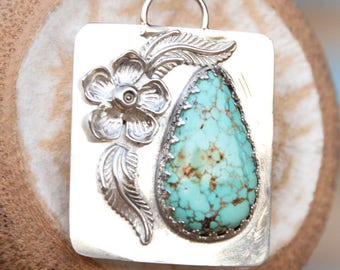 Sterling Silver Pendant with Natural Turquoise Gemstone Setting, Sterling Silver Bail and Chain, Teardrop Cabochon, Gift, Native US Gemstone