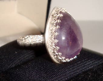 Amethyst Sterling Silver Ring, .925 Sterling Silver, Handmade Fbricated Design, Female Ring,  Birthday, Christmas, Motherss Day, Friend