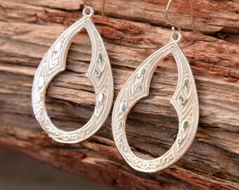 Sterling Silver, Celtic Hoop Earrings, Sterling Silver Ear wires,  gypsy Bohemian, Dangle Earrings,- Sterling Silver teardrops, Handmade