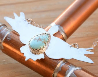 Eagle In Flight Necklace Made from Sterling Silver and Natural Turquoise Gemstone, Sterling Silver Chain, from Piilot Mountain Nevada