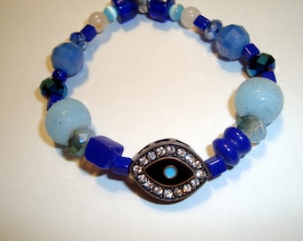 Eye Symbol Bracelet, Gemstone, Glass and Crystal beads, Small Size, Elastic, BOHO Design, Wear with Other Bracelets, Bohemian Bracelet