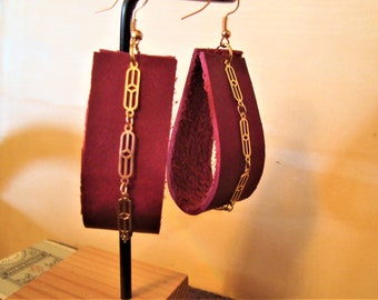 SALE:   Leather and Gold Chain earrings, Real Red Leather