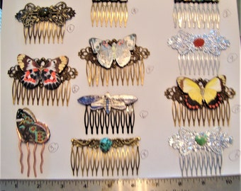 Hair Combs with Butterflies, Gemstones or Abalone Squares , 3 inches long, Your Choice