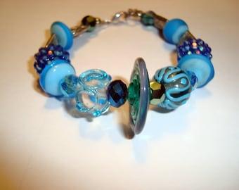 Blue Lampwork Glass Bracelet, Disc Focal Bracelet, 7 Lampwork beads, BOHO Design, Wear with Other Bracelets, HANDMADE, Bohemian Bracelet