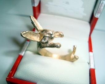 Bronze Rabbit Ring - Hand Casting Lost Wax Technique - Statement Ring -  Handmade - Nature Symbol - Bunny Ring - Handmade - SRAJD
