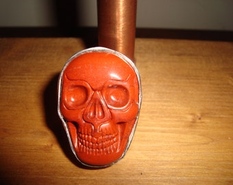 Natural Red Jasper Carved Stone and Sterling Silver Ring, .925 Sterling Silver,  for Male or Female