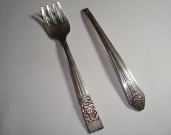 Antique Silverware, Silver Flatware, Antique Silver,  Antique Fork and Handle of a Spoon,  Silver Plate circa 1911, Cottage Chic  Silver