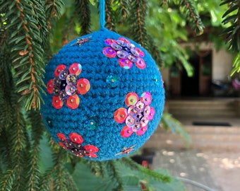 Czech Glass Dept 56 Christmas Tree Ball Ornaments Pair of 2 Purple /& Pink Large Tree Decorations with Glitter Accents