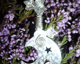 Sickle druid pendant, SquareHare, Vegan, UK, Druid, jewelery pagan wedding bride handfasting Beltain celtic shaman