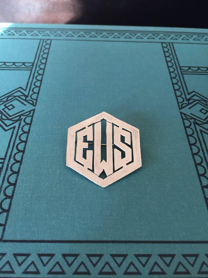 Vintage sterling silver EWS or ESW monogram brooch