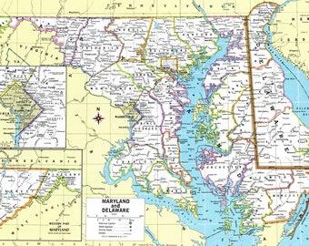 Maryland map   Etsy