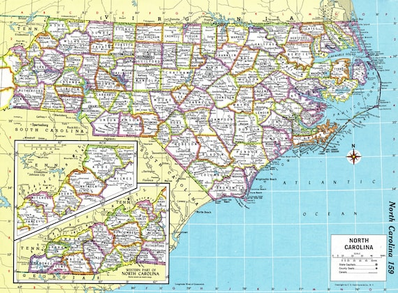 North Carolina Map Instant Download 1980 Printable Map Digital Download Wall Art Antique Map