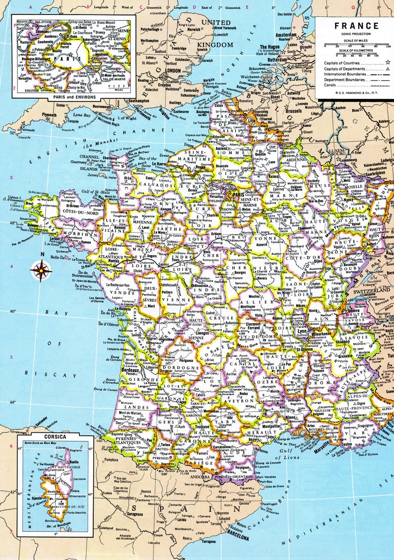 photograph about Printable Map of France named France Map Instantaneous Down load - 1980 - Printable Map, Electronic Down load, Wall Artwork, Antique Map