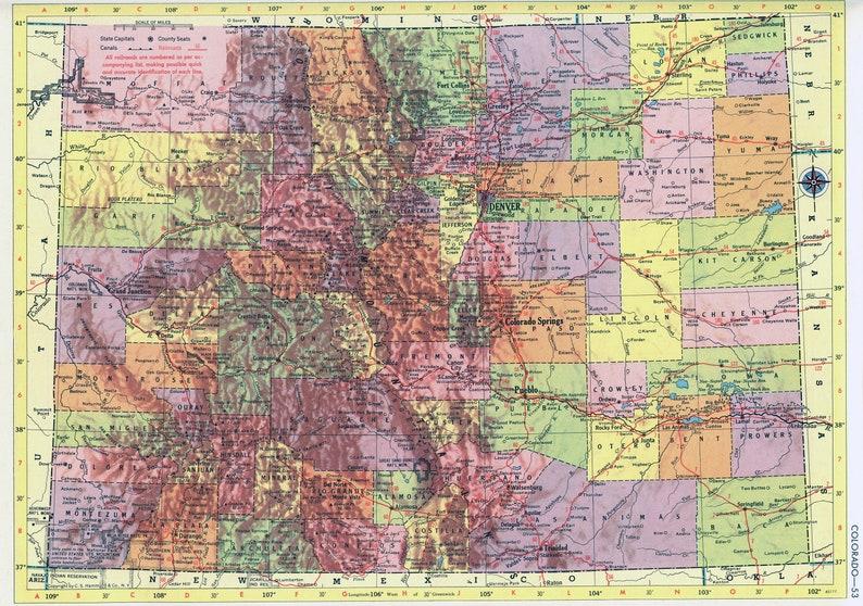 Colorado Karte.Colorado Map Instant Download 1958 Printable Map Vintage Map Home Decor Wall Art Antique Map