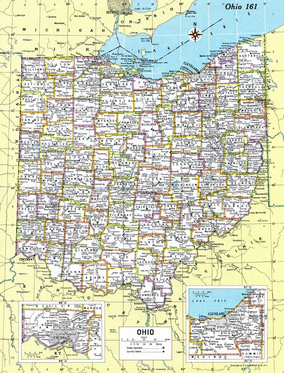 Ohio Map Instant Download 1980 Printable Map Digital Etsy