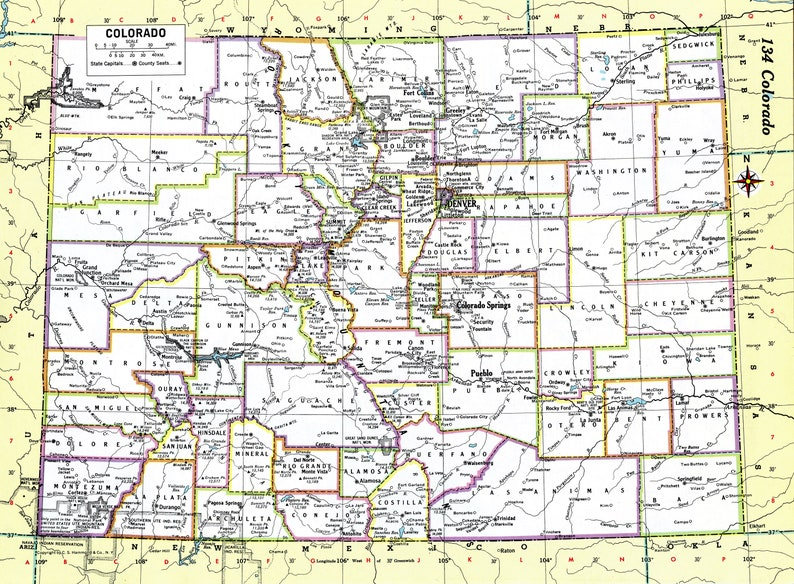 picture about Printable Map of Colorado identified as Colorado Map Prompt Obtain - 1980 - Printable Map, Electronic Down load, Wall Artwork, Antique Map