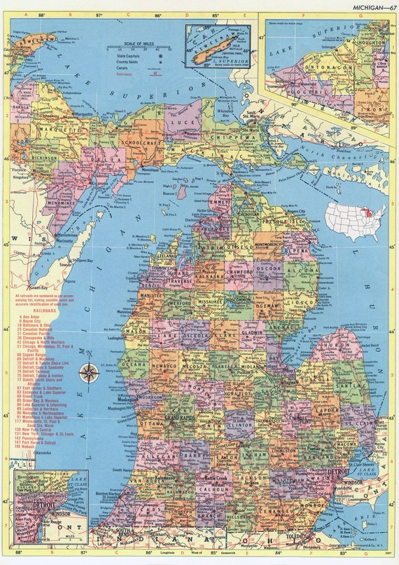 picture about Printable Map of Michigan known as Michigan Map Prompt Obtain - 1958 - Printable Map, Typical Map, Property Decor, Wall Artwork, Antique Map