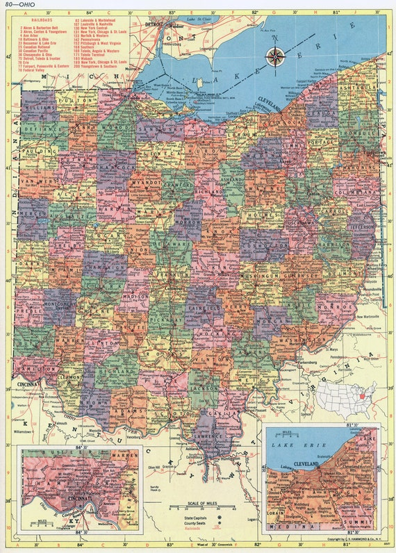 I 80 Ohio Map.1956 Ohio Map Beautiful Old Map Of Ohio Vintage Map Etsy