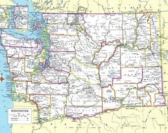 Washington Map Instant Download - 1980 - Printable Map, Digital Download, Wall Art, Antique Map