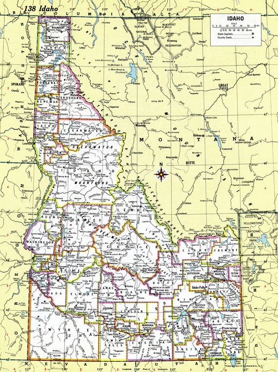 image regarding Printable Map of Idaho named Idaho Map Immediate Down load - 1980 - Printable Map, Electronic Obtain, Wall Artwork, Antique Map