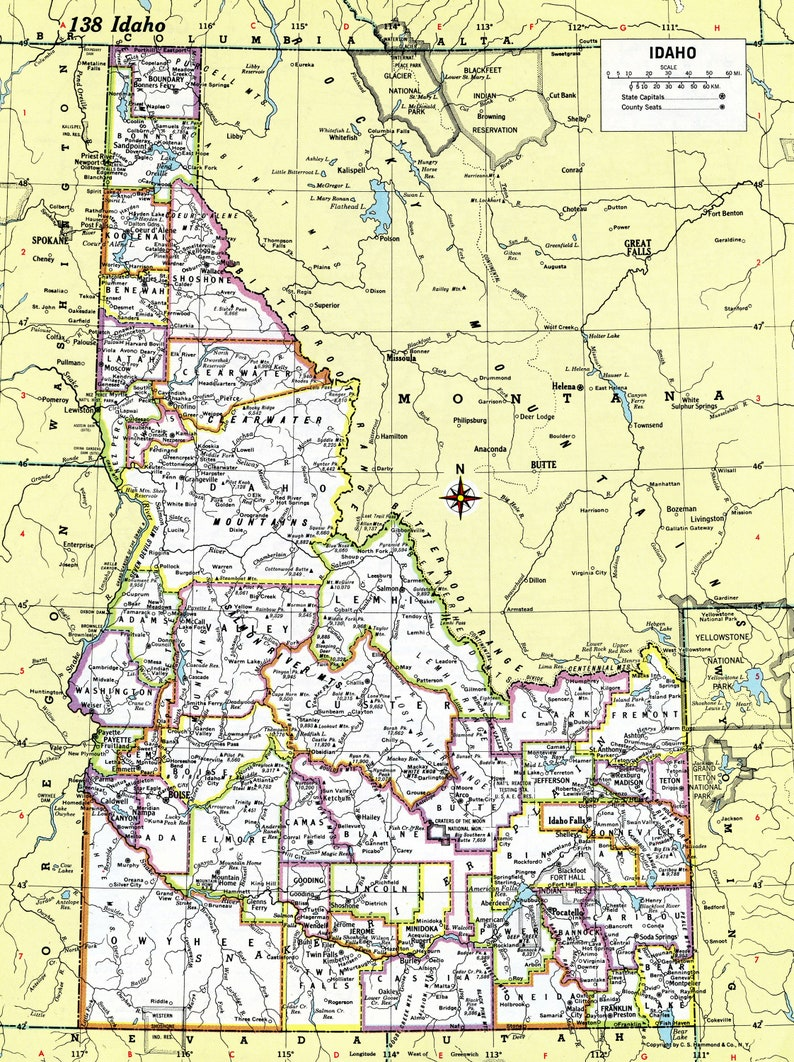 graphic about Printable Map of Idaho named Idaho Map Instantaneous Down load - 1980 - Printable Map, Electronic Down load, Wall Artwork, Antique Map