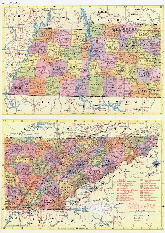 Tennessee Mapa Instant Download-1958-mapa do druku Vintage | Etsy