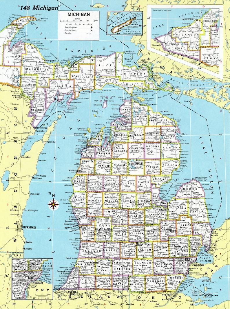 1980 Michigan Map Antique Hammond Atlas Map Vintage Michigan State