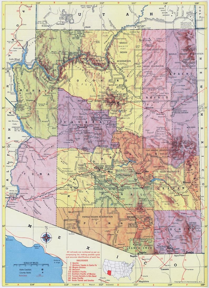 Map Of Old Arizona.1956 Arizona Map Beautiful Old Map Of Arizona Vintage Map Colorful Atlas Map Gift Home Decor