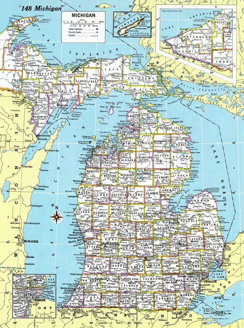 graphic regarding Printable Map of Michigan named Michigan Map Immediate Down load - 1980 - Printable Map, Electronic Obtain, Wall Artwork, Antique Map