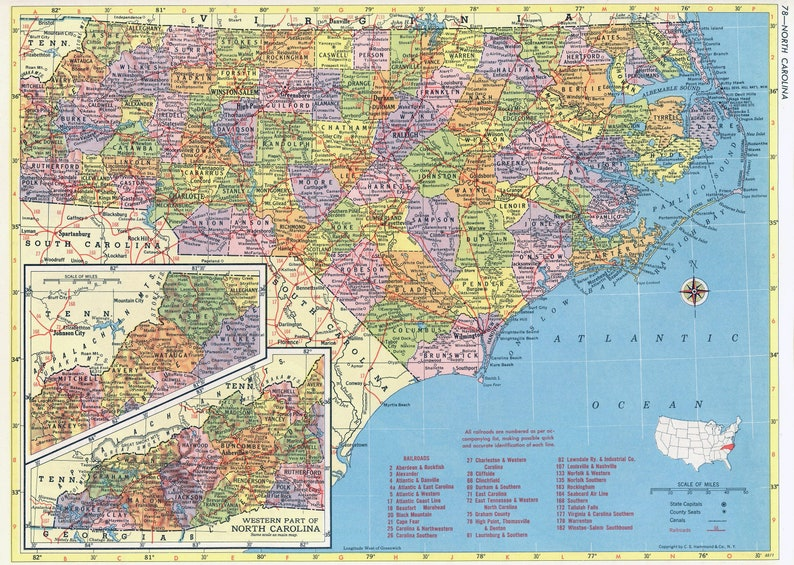picture regarding Printable Map of North Carolina named North Carolina Map Instantaneous Obtain - 1958 - Printable Map, Traditional Map, Property Decor, Wall Artwork, Antique Map