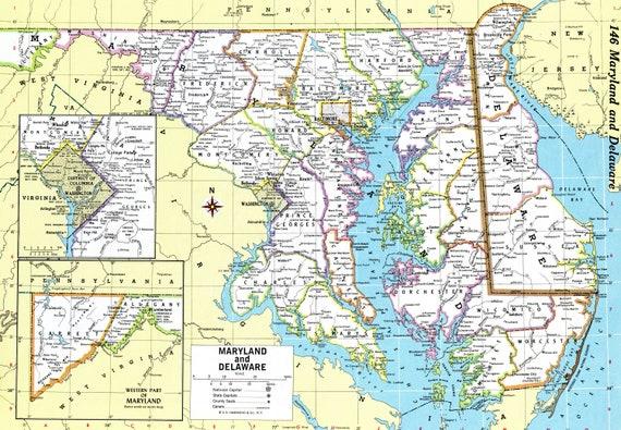 Maryland & Delaware Map Instant Download 1980 Printable | Etsy