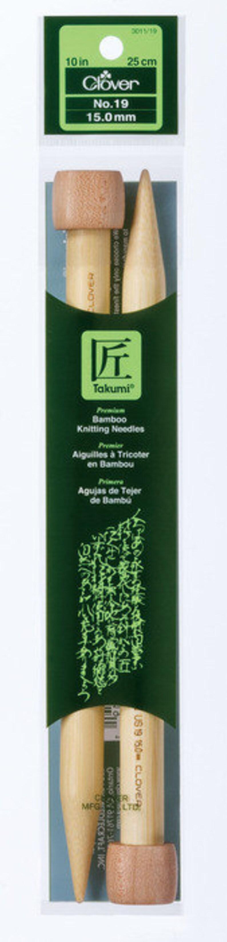 3011-19 Clover 10 Inch Size 19 Takumi Single Point Bamboo Knitting Needles Part No