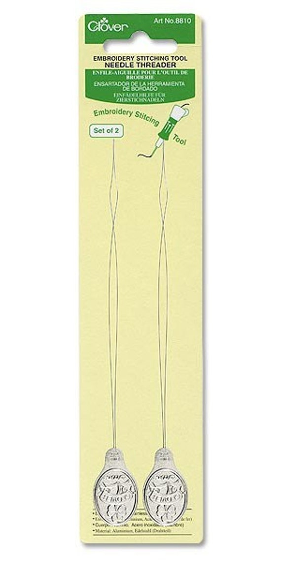 Clover #8810 2 per package Long Needle Threader for Embroidery Stitching and Punch Needle Tools