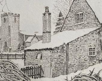 A Cottage Under Snow   Intaglio etching print