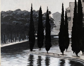 A Park in Barcelona   Original acrylic painting on wood panel