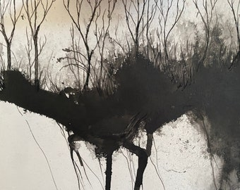 Treetops and Underhill | Original Painting on paper
