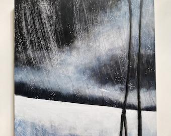 Night Snow | Original acrylic painting on wood panel