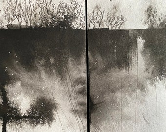 Rains in the Lowlands | Diptych on paper