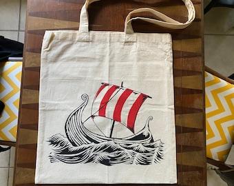 Viking Ship | Screen printed tote bag