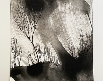 Young Trees in a Storm | Original Painting on paper