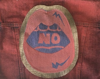 NO feminist Lips, No means No back patch