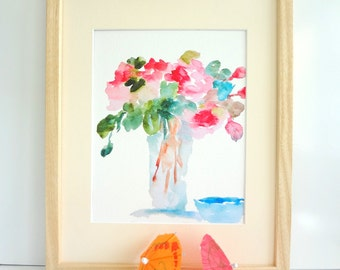 Pink Bouquet In Vase, Watercolor Flowers, Fine Art Print, 8x10