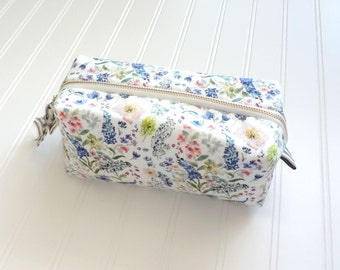 NEW! Watercolor Floral Box Cosmetic Bag, Floral Toiletry Bag, Make-Up Bag, Watercolor Designer Fabric, Box Pouch